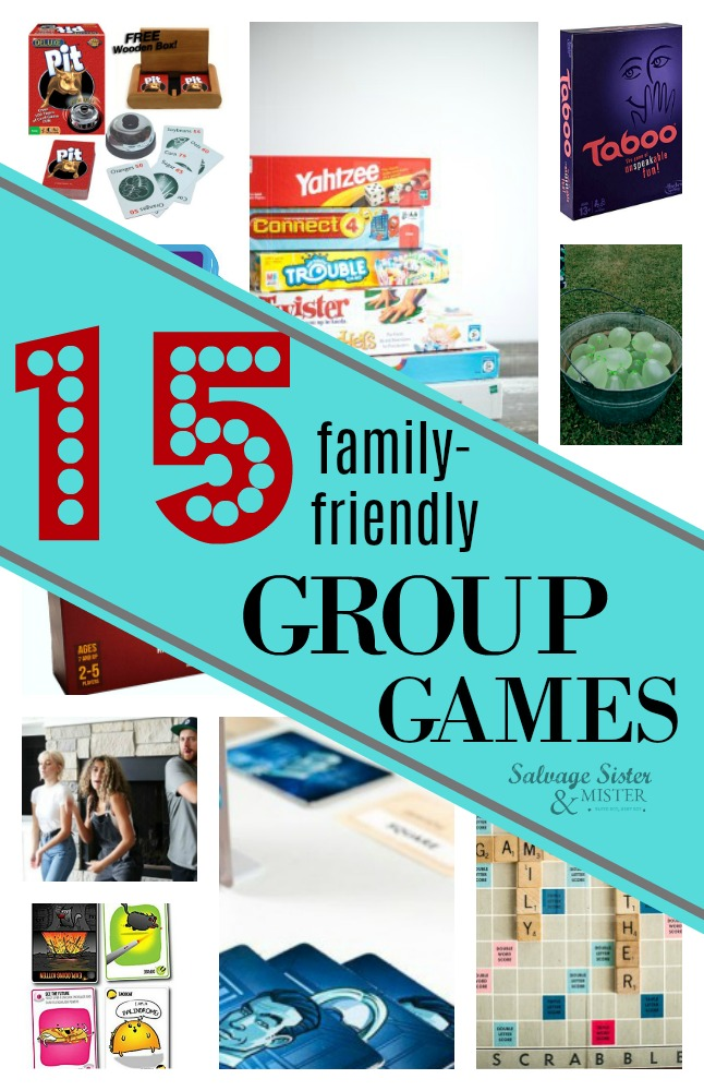We love games!  If you are looking for some family friendly group games, we have so many great ideas.  Get free games, outdoor games, and board games.  Find some of our favorites and the most popular games around.  Great to spend time with friends and family.  Get these game ideas on salvagesisterandmister.com