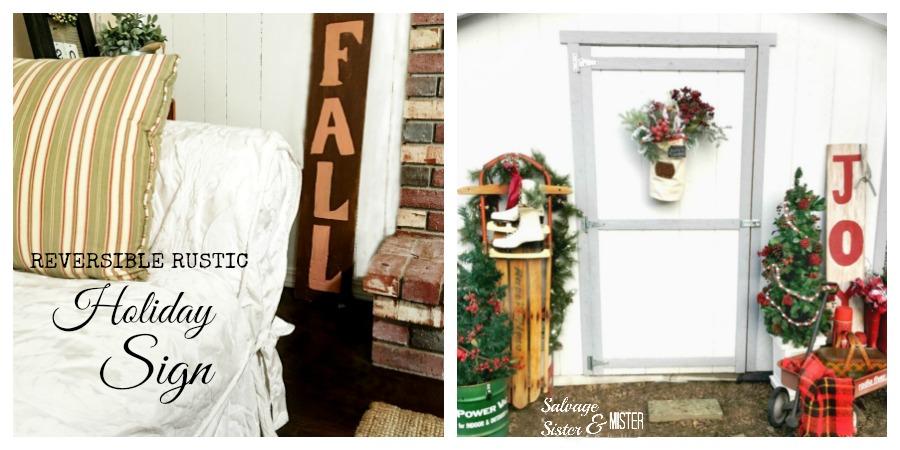 DIY reversible rustic holiday sign -fall and joy