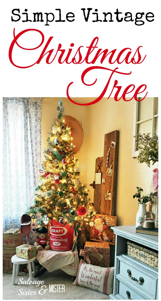 A simple vintage Christmas tree using thrift store finds and what we have in our home.