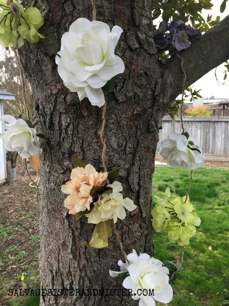 How to make an artificial flower garland #craft #garland #reuse salvagesisterandmister.com