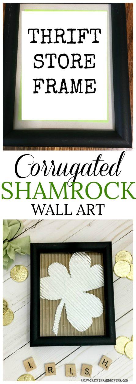 DIY SHAMROCK WALL ART - CORRUGATED FOIL AND CARDBOARD, THRIFT STORE FRAME #STPATRICKSDAY #SHAMROCK #DIY