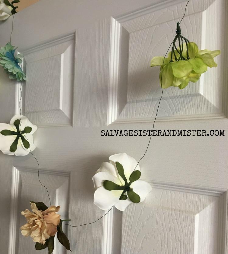 diy artifical flower garland SALVAGESISTERANDMISTER.COM