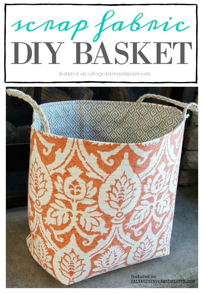Creating a DIy scrap fabric basket (tutorial) featured on salvagesisterandmister.com