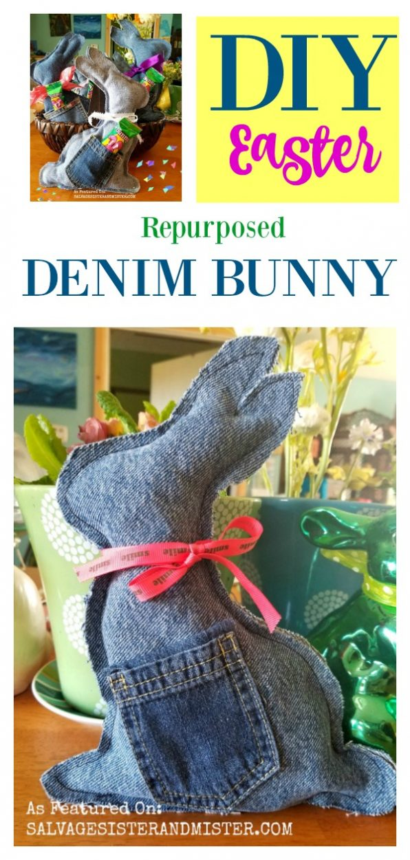 Easter Craft - DIY Denim Bunny tutorial - repurposing jeans into a Easter toy / feature on salvagesisterandmister.com #repurpose #eastercraft #diycraft