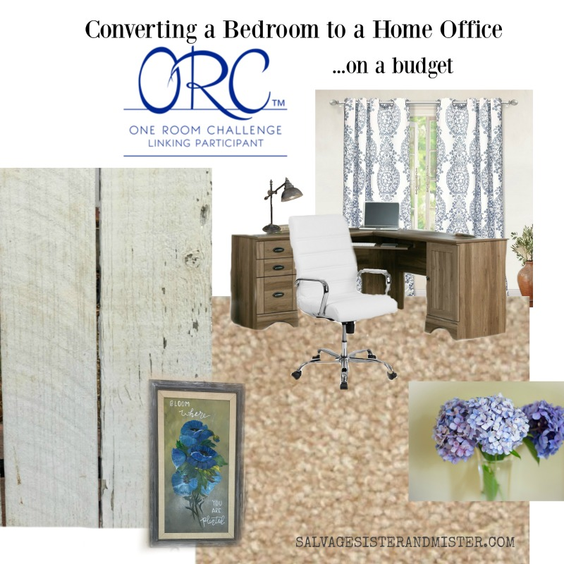 One Room Challenge 2018 converting bedroom to home office mood board #homedecor #budgetdecorating #interiordesign