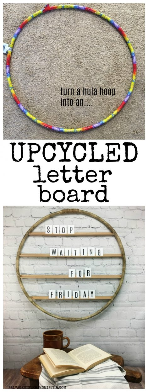 Turn a hula hoop from the dollar store into an upcycled letter board or menu board #upcycled #reuse #repurpose