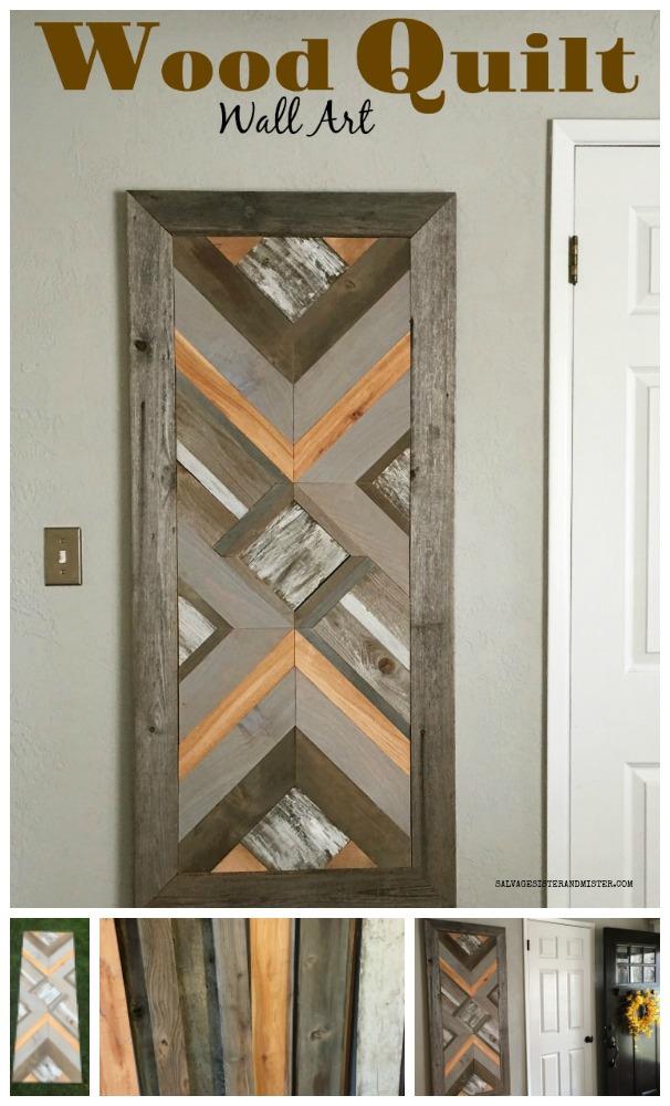 Using up wood scraps for this DIY wood Quilt wall art. #repurpose #reuse #wooddiy salvagesisterandmister.com
