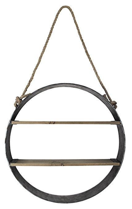 19 Inch Round Metal Wood Barrel Shelf affiliate link