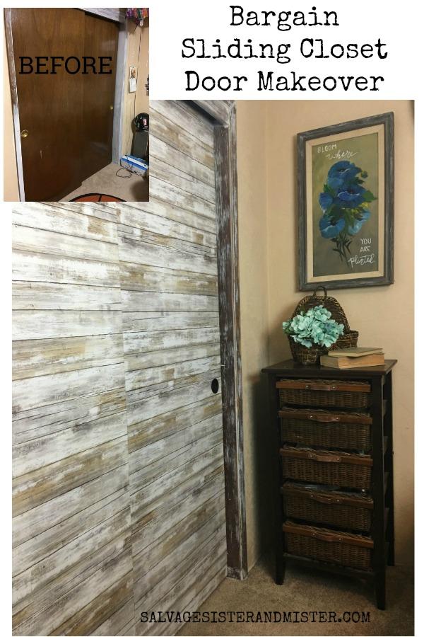 A bargain sliding closet door makeover using this inexpensive item. Budget home decorating. #homedecor #budgetdecor #salvagedesigns
