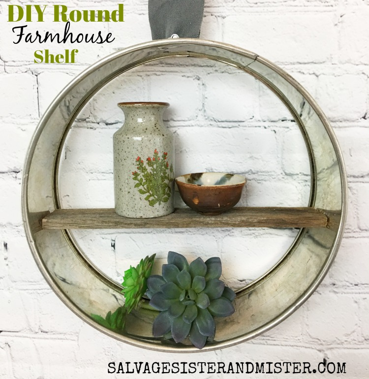 turning a thrift store find into a diy farmhouse round shelf for wall decor found on salvagesisterandmister.com #upcycle #thriftstoretransformation #reuse