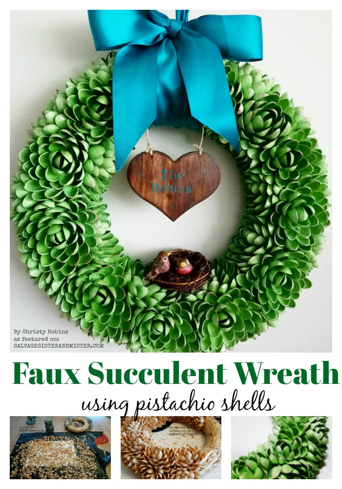 DIY Faux Succulent Pistachio Wreath using pistachio shells is a fun way to reuse #wastenot #reuse #craft #succulents as featured on salvagesisterandmister.com