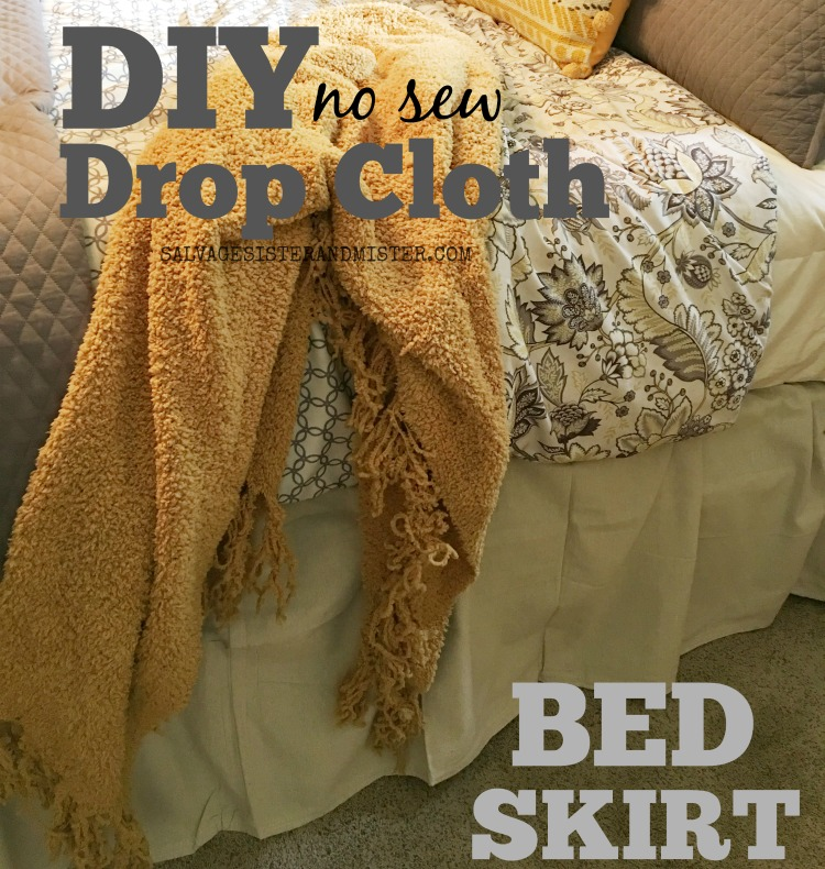 A DIY no sew drop cloth bed skirt is a great way to get a linen look for a bargain price #homedecor #bedding #diy