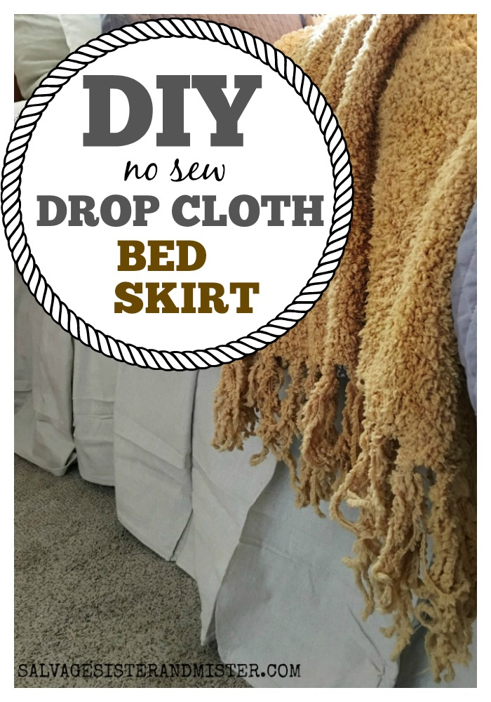 This diy no sew drop cloth bed skirt is super easy and very inexpensive. Create a linen bed skirt look for less #budgetdecor #easydecor #diybedding #nosew