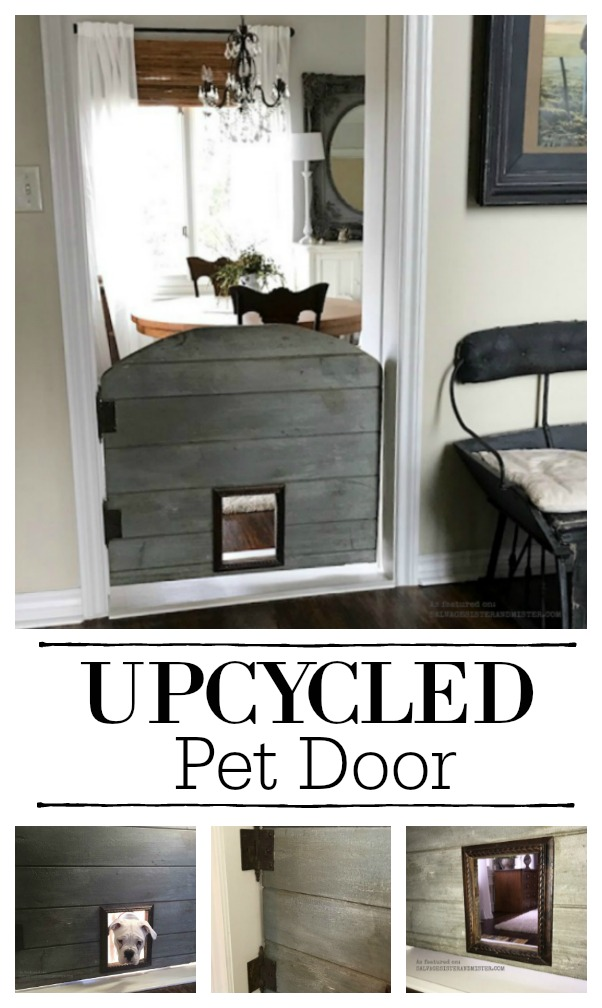 DIY upcycled pet door -farmhouse barn style #diy #farmhouse #petdoor