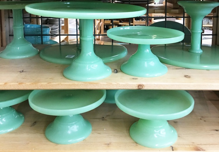 jadeite dishes - cake stands