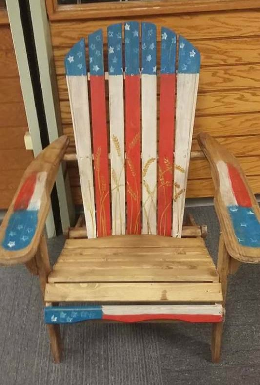 Patriotic American Flag Chair painted by Lisa Severance #upcycle #repurpose #americanflag
