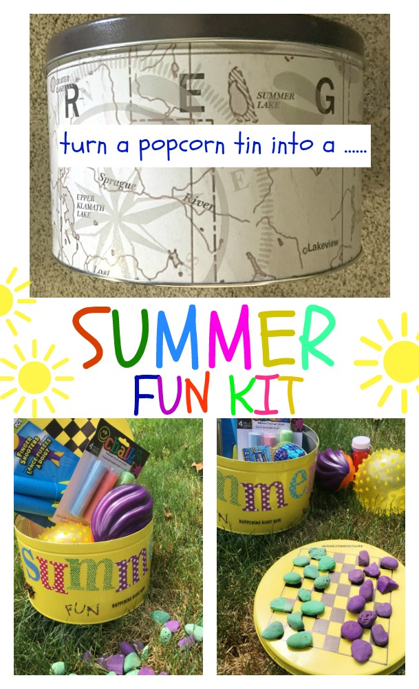 Repurpose a popcorn tin into a summer fun kit for the kids summer break