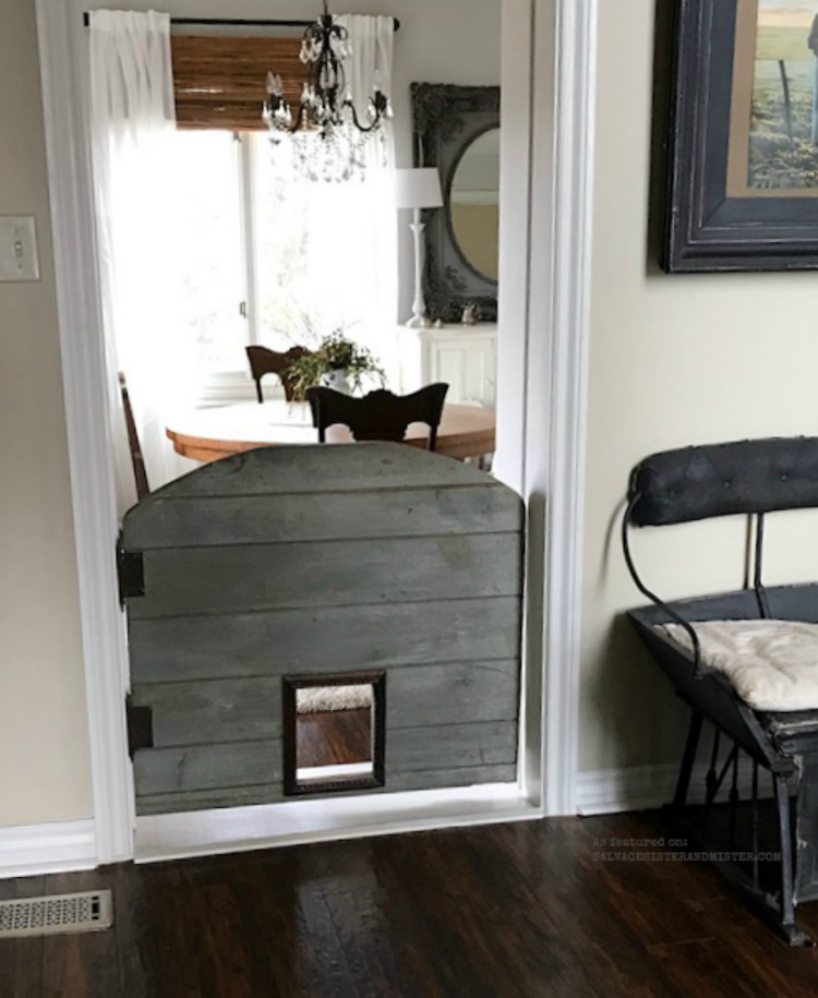 feature on salvagesisterandmister.com - upcycled pet door