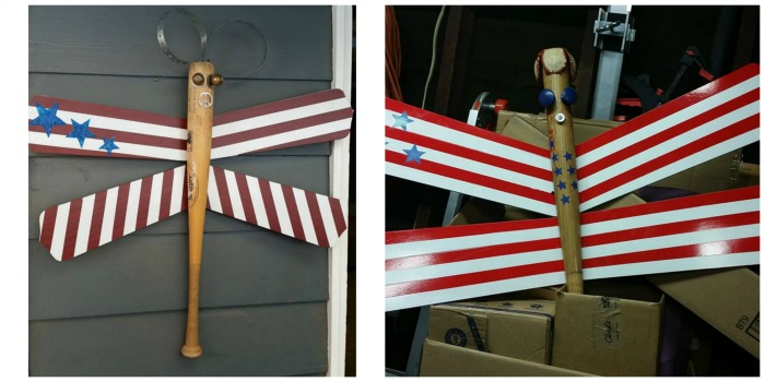 patriotic upcycle projects fan blades and an old bat by Becky Davis