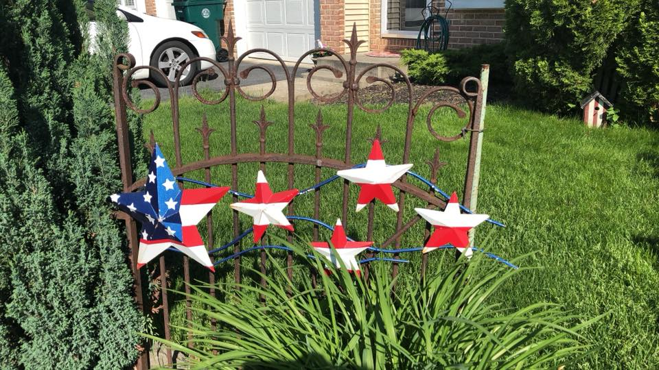 Patriotic stars upcycled from scrap metal