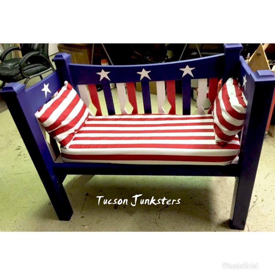Tuscon Junksters patriotic bench