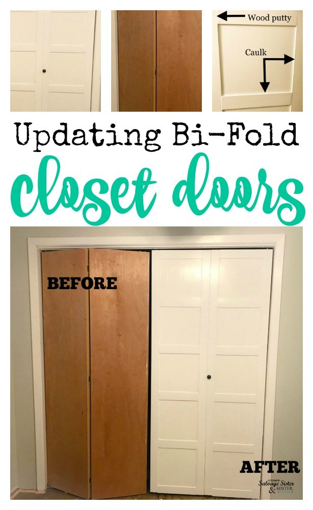 Have old 70's style closet doors? With a little DIY you can create a whole new look. Updating bi-fold closet doors shows you how to make it a modern or clean new look. Fixer upper style or farmhouse as well. #closetdoors #farmhouse #diy