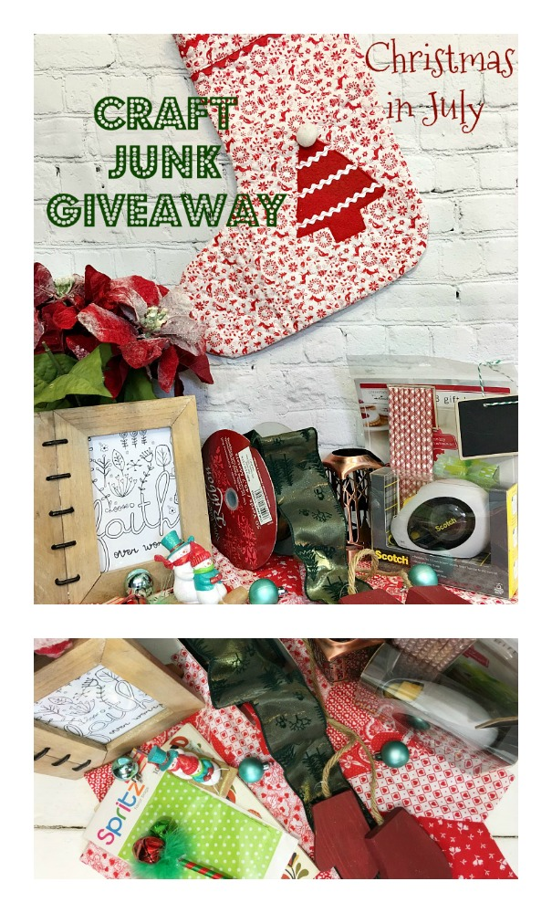 It's that time- Craft Junk Giveaway Christmas in July edition. Come see what thrifted, junkin, craft, etc supplies will be given away this time. and enter to win #upccyle #thrift #crafting