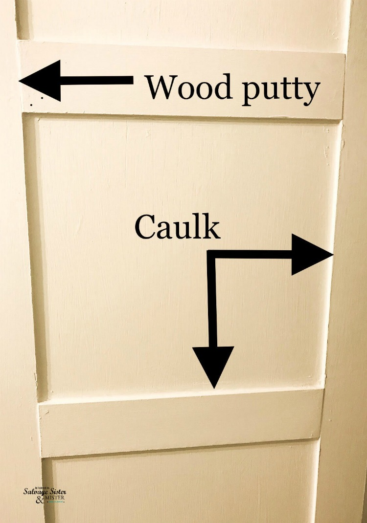 showing wood putty and caulk on door