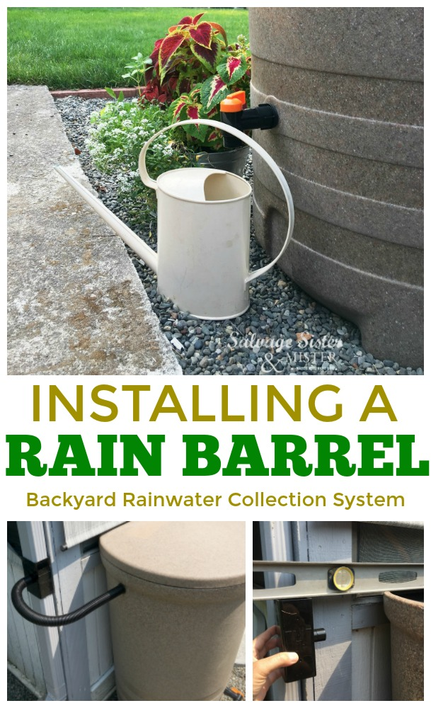 Installing a rain barrel- this is our backyard rainwater collection system - how to and supplies needed #sponsored #rainwater #reuse #recycle #backyard