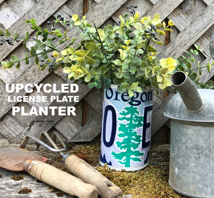 Create your own diy upcycled license plate planter with this tutorial found on salvagesisterandmister.com #vintage #upcycle #planter