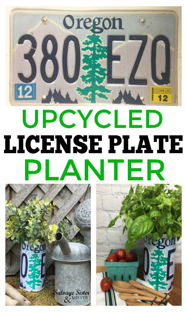 How to tutorial for this DIY upcycled license plate planter and or pencil holder. Full instructions for this repurpose project at https://www.salvagesisterandmister.com #upcycle #repurposed #vintage