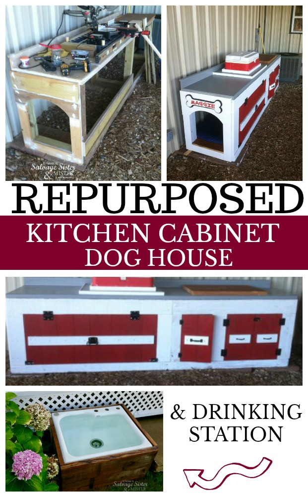 Don't toss your old remodel items, repurpose them instead. Here is a repurposed kitchen cabinet dog house with storage and a kitchen sink used as a drinking station or bowl. Your dog will have an area just for them. #upcycle #repurposed #remodel featured on salvagesisterandmister.com from 3 Saw Ranch