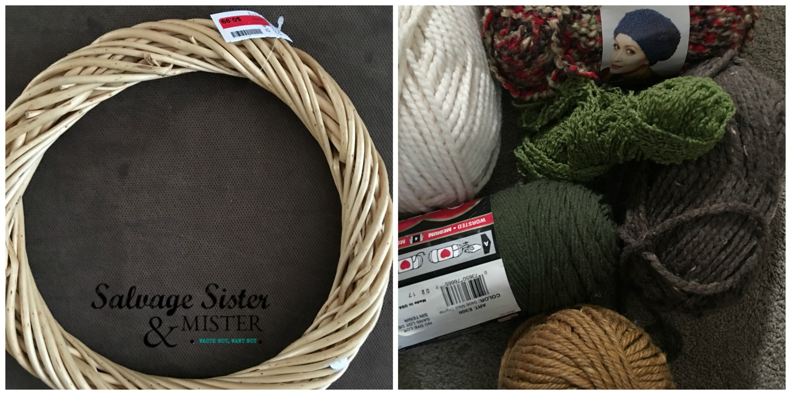 Supplies for Thrifted DIY Fall Yarn Ball Wreath at salvagesisterandmister.com