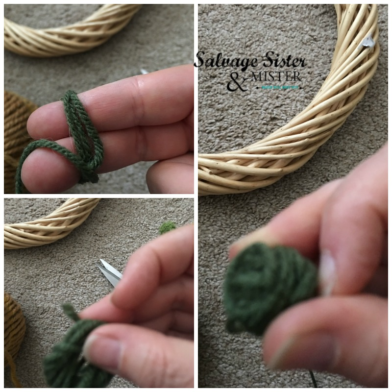 Instructions for thrifted diy fall yarn ball wreath at salvagesisterandmister.com