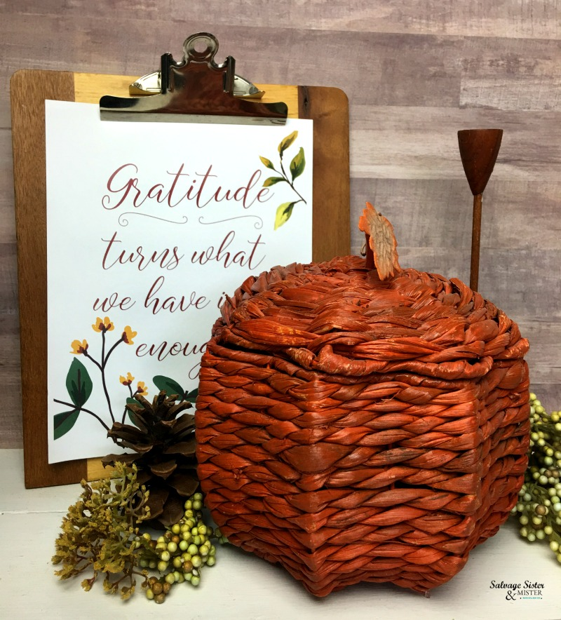 Thrifty Style Team Fall Home Decor Giveaway - Check out all these fun items that will be given away. Some are handmade, some thrifted, some from our own stash. This is my item up for grabs - Wicker pumpkin with lid. Also, grab this free fall printable on gratitude. #thrift #fall #homedecor #budgetdecor