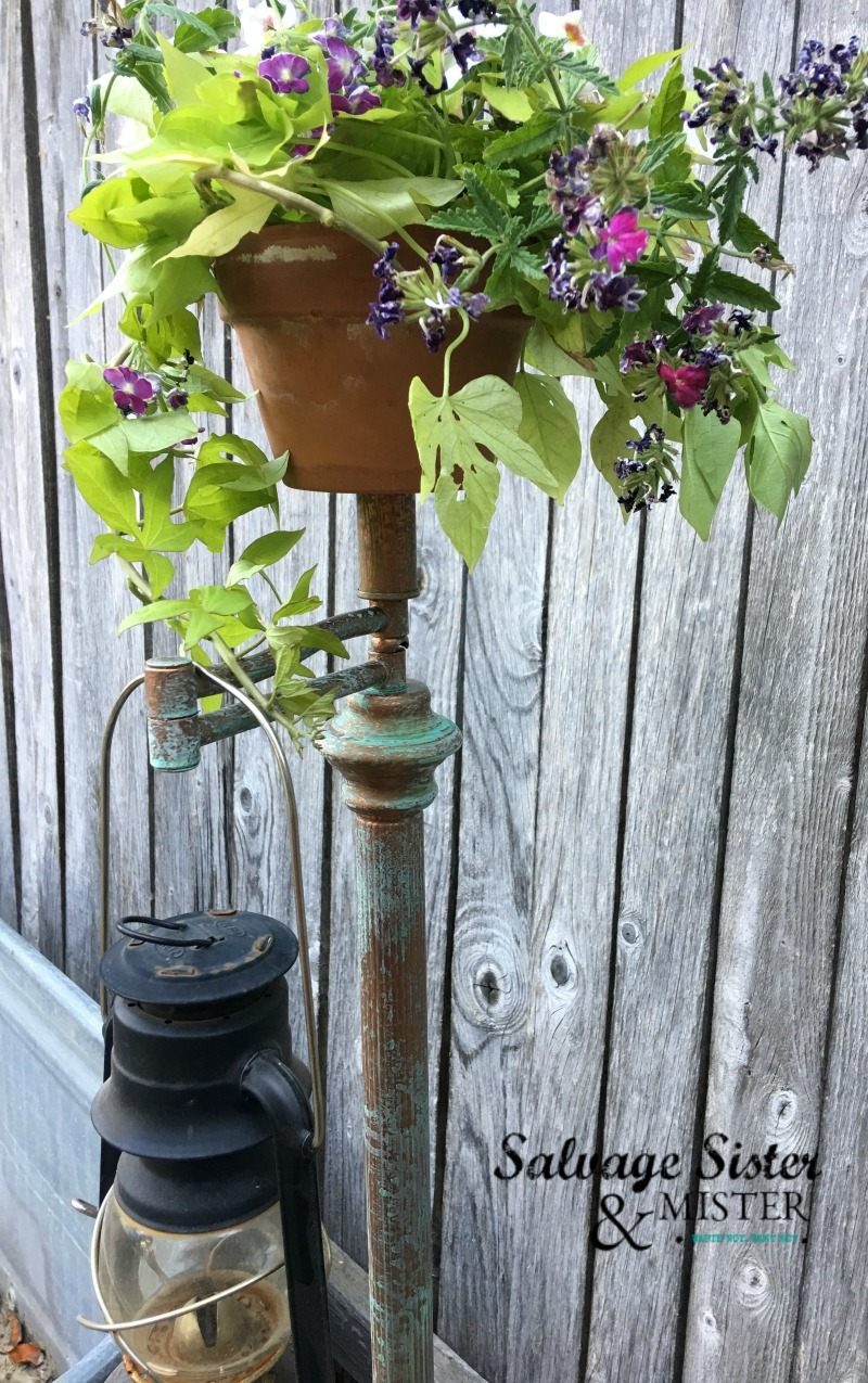 DIY PROJECT - Upcycled lantern stand with patina using an old lamp found on salvagesisterandmister.com
