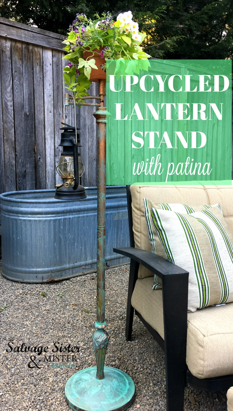 We got a free arm lamp stand and turned it into an upcycled lantern stand with patina for our budget backyard project #backyard #patina #junkin #upcycle found on salvagesisterandmister.com