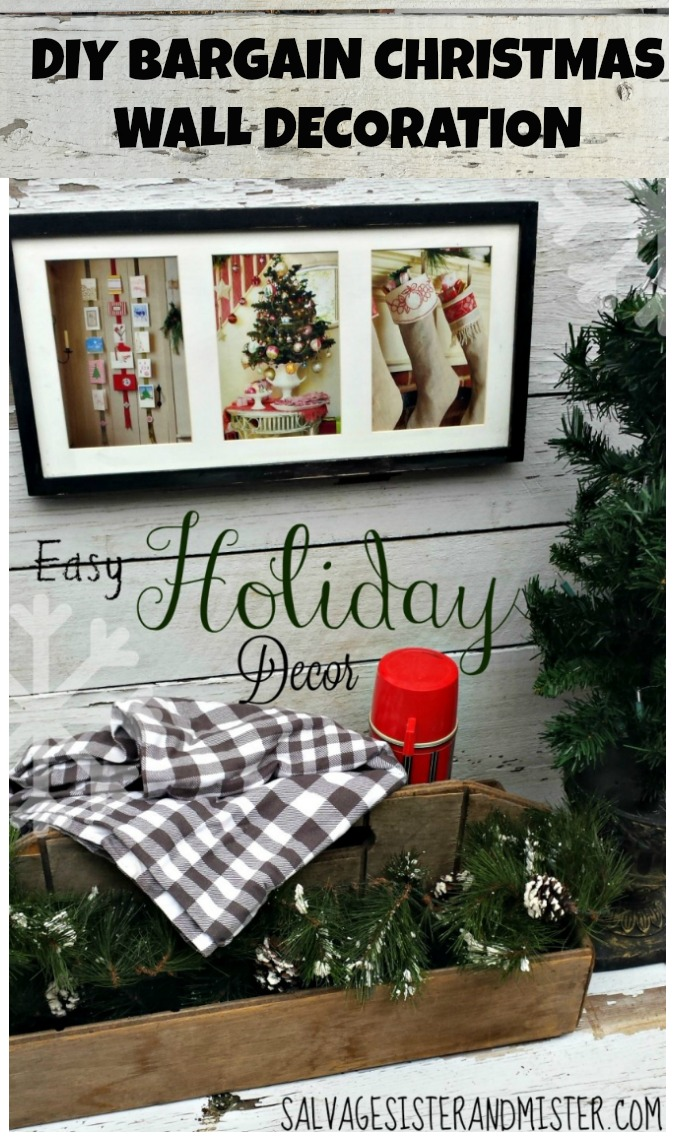 BRAGAIN HOLIDAY CRAFT - DIY Bargain Christmas Wall Decoration Is a great way to use items you already have around your home.  #holidaydecor #christmas  #christmasdecor post at salvagesisterandmister.com