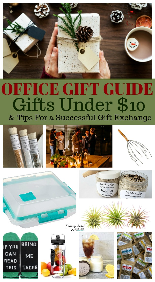 Office gift guide - Gifts $10 and under - Gift guide with tips for a successful office gift exchange. Also makes a great resource for stocking stuffers as well. #giftideas #giftexchange #budgetfriendlygifts