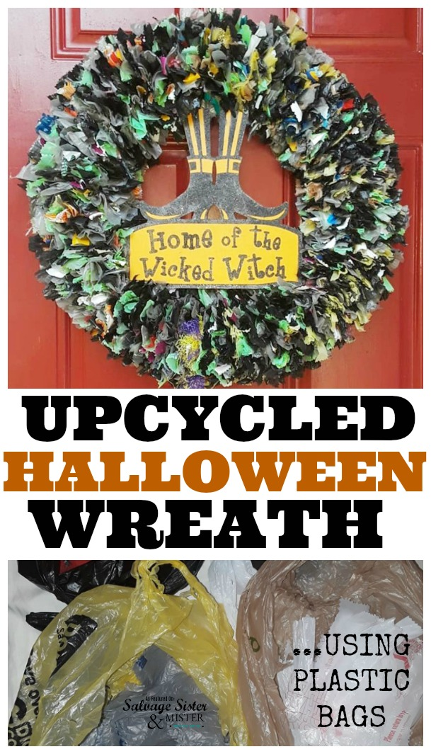 want to reuse all those plastic grocery bags?  here is a great craft that you can do for any holiday - Upcycled Plastic Bag Halloween Wreath.  This diy can be done wiht very few items and most using what you already have. Fun for a ladies craft night .  See full instructions on salvagesisterandmister.com SSMFEATUREME #upcycledcraft #reuse