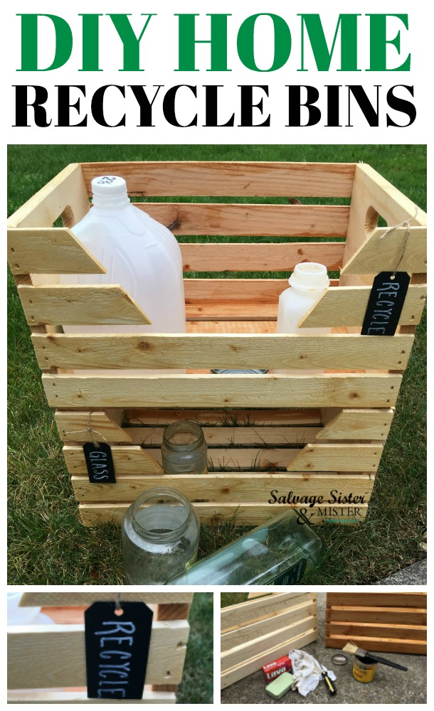 HOW TO PROJECT - Organize you recycables with this DIY Home Recycle Bins project. Super easy and budget friendly. This is a great way to keep items separated for collections service. #recycle #organize #sponsored #lavasoap