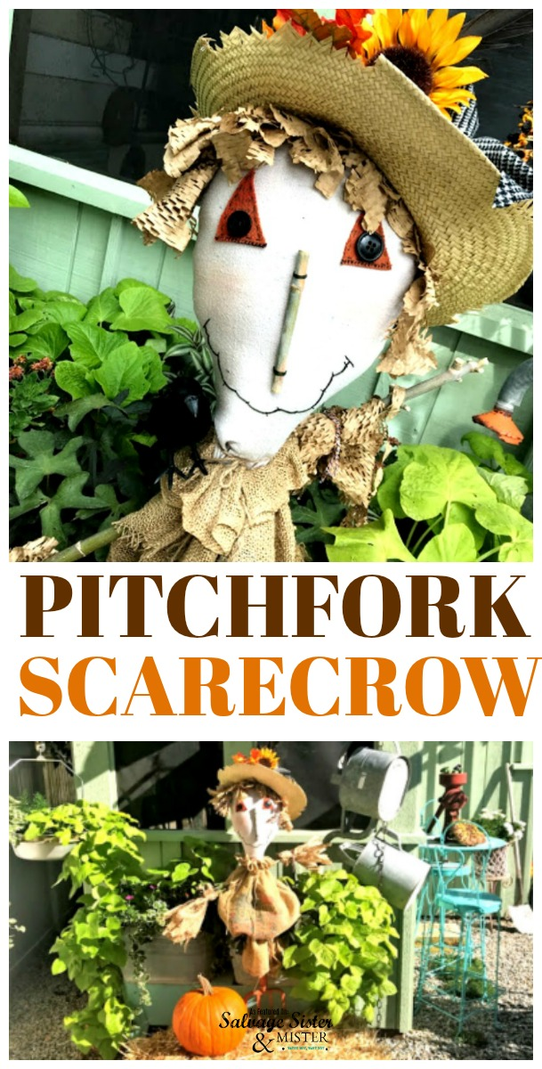 Make this extra cute pitchfork scarecrow for your fall decor. Perfect for the garden or your front porch. This cute craft has a pdf file for you and full instructions found at salvagesisterandmister.com. This is a great way to repurpose or upcycle an old shovel or pitchfor, or other garden tool. Easy to make with supplies on hand. #falldecor #fallcraft #repurpose