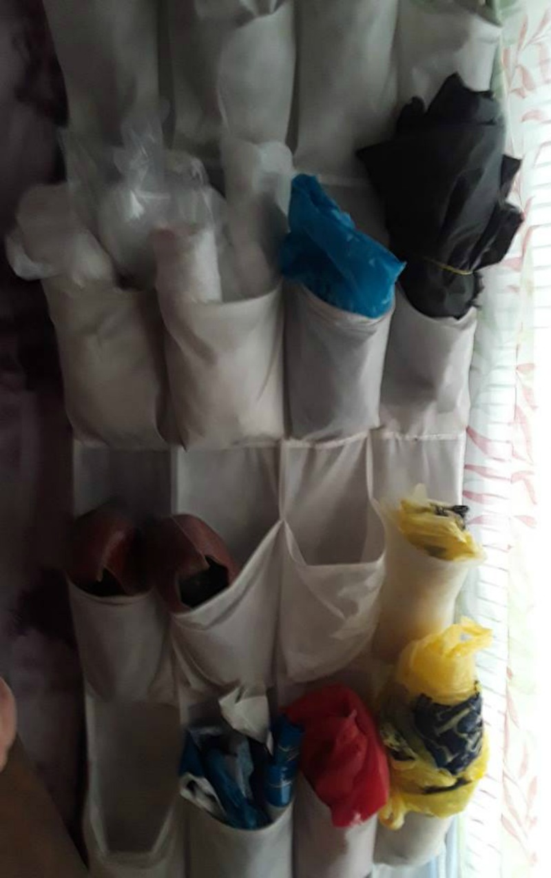 Plastic bag storage system to seperate by colors and types for crafts
