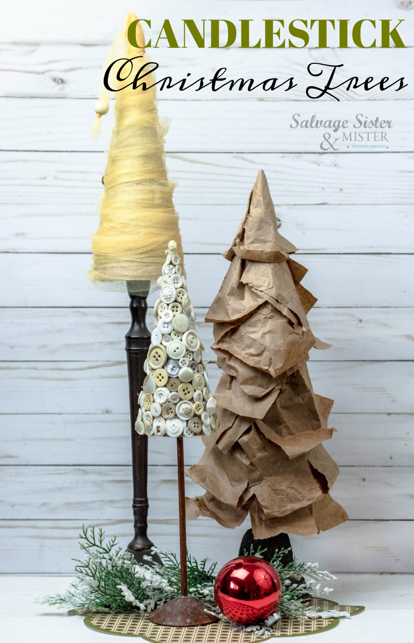 Creating Christmas Tree Cone Candlestick Trees from items around the home. Simple Christmas Decor #budgetfriendlychristmas #christmasdecor #reuse