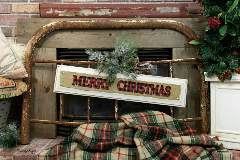 DIY Christmas cabinet dorr sign used from a drawer front from the ReStore. Christmas decor doesn't have to be expensive. #repurpose #bargaindecor #holidaydecor