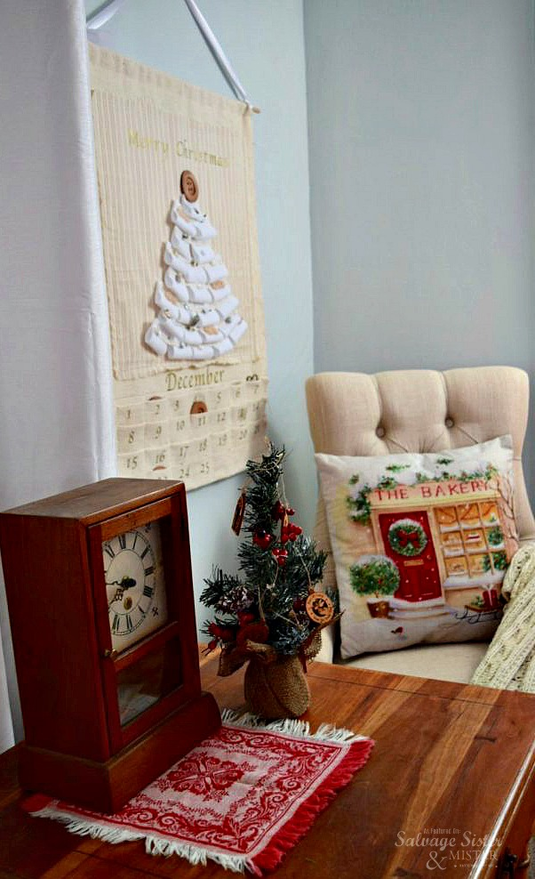Create a family heirloom advent calendar using some scrap fabric items and things you may already have in your craft room....upcycled advent calendar found on salvagesisterandmister.com