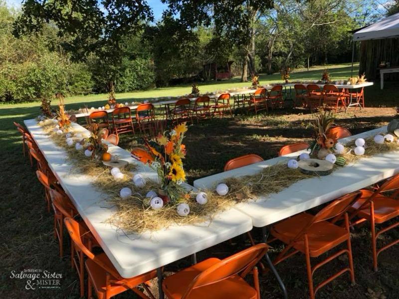 backyard barn wedding with chairs borrowed so it is budget friendly