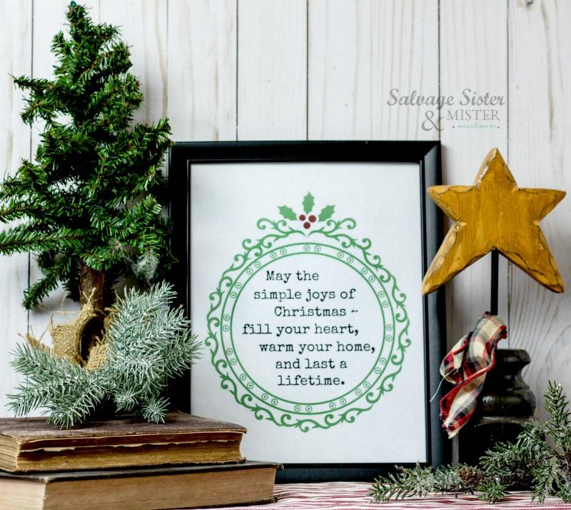 The Simple joys of Christmas printable on salvagesisterandmister.com