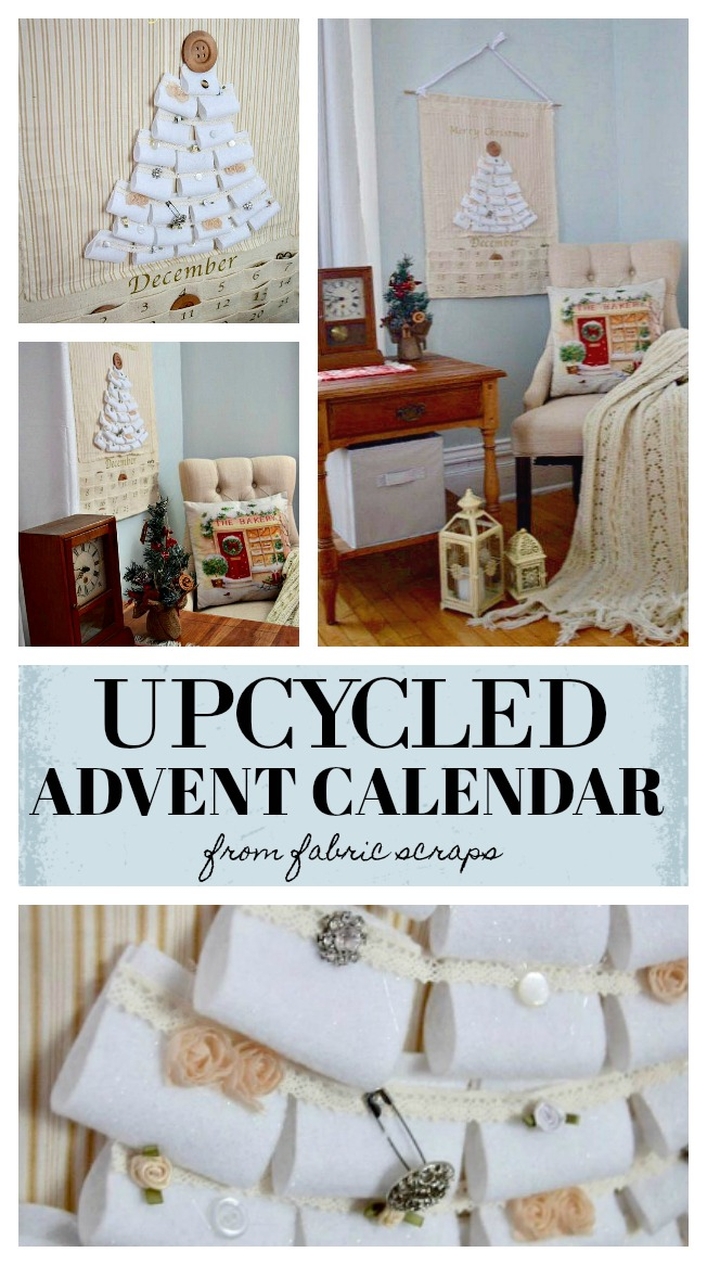 Start the advent season with this upcycled advent calendar from fabric scraps on hand. This is a fun gift to make or use with your family. It is a great start to the holiday season and an easy craft to make and customize how you like. #christmascraft #adventcalendar #upcycle found on salvagesisterandmister.com feauture
