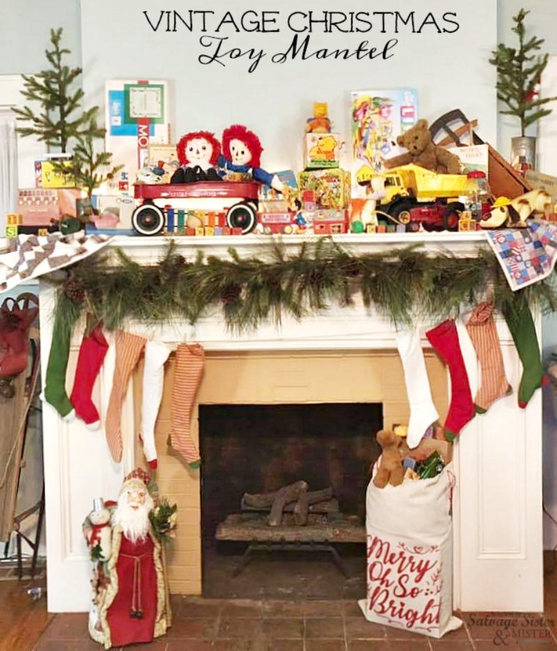 A Vintage Christmas Toy Mantel - retro toys make for a Cute Christmas mantel #christmasmantel #mantel #christmasdecor on salvagesisterandmister.com